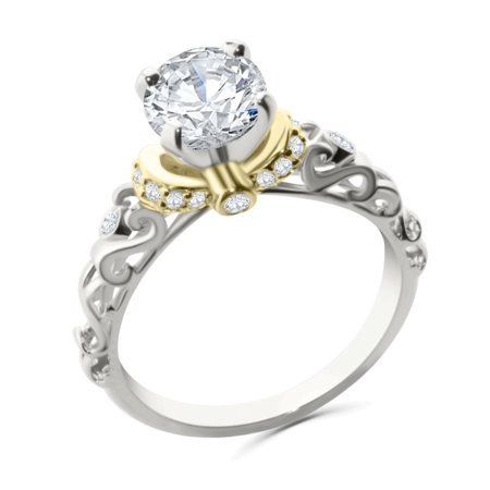 14K White Gold and Yellow Tone Engagement Ring Semi Mount Setting Fits Upto 1ct Solitaire 0.18ctw Size (Claw Engagement Ring Setting)