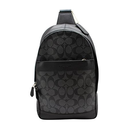 - NEW MENS COACH (F54787) CHARLES LEATHER SIGNATURE SLIM PACK BLACK BAG BACKPACK