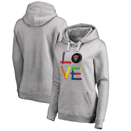 Florida Panthers Fanatics Branded Women's Hockey Is For Everyone Love Square Pullover Hoodie - Heather Gray