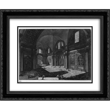Our Lady Angels - Giovanni Battista Piranesi 2x Matted 24x20 Framed Art Print 'Interior of the Church of Our Lady of the Angels called the Charterhouse, which was once the principal room of the Baths of Diocletian'