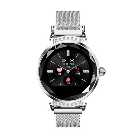 H2 Newest Fashion Women Smart Sport Watch 3D Diamond Glass Heart Rate Sleep Monitor Best Gift Magnetic Strap Smartwatch Wristband with Gift