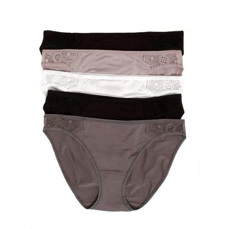 Felina | Stretch Modal Blend Bikini Panty | Tagless | Lace Detail | 5-Pack (Basics Pack, Large)