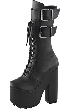 87bfd8e43a20 Product Image Womens High Heel Combat Boots Black Knee High Boots Platforms  6 1 4 Inch Heel