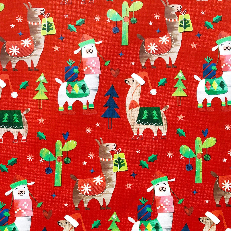 jillson & roberts gift wrap, fa la llama (6 jumbo rolls 10ft x 30in)