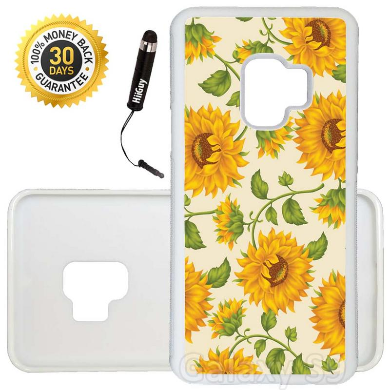 Custom Galaxy S9 Case (Vintage Sunflower Pattern) Edge-to-Edge Rubber White Cover Ultra Slim | Lightweight | Includes Stylus Pen by Innosub