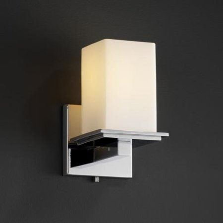 Justice Design Group Flat Rim 1-light Polished Chrome Opal Square Glass Wall Sconce - Walmart.com