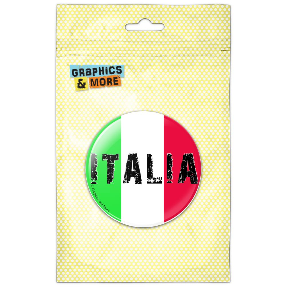 Italia Italy Italian Flag Pinback Button Pin Badge by Graphics and More