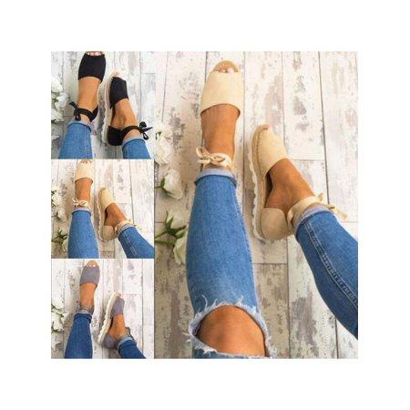 Summer Womens Shoes Espadrille Sandals Anke Strap Ribbon Peep Toe Flat Women Casual Shoes