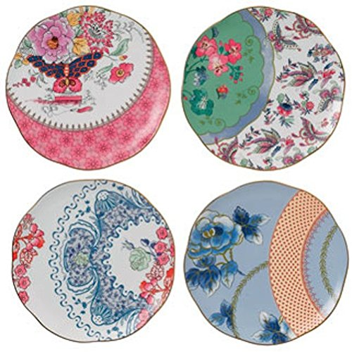 "Wedgwood BUTTERFLY BLOOM TEA PLATES 8.25"" SET/4"