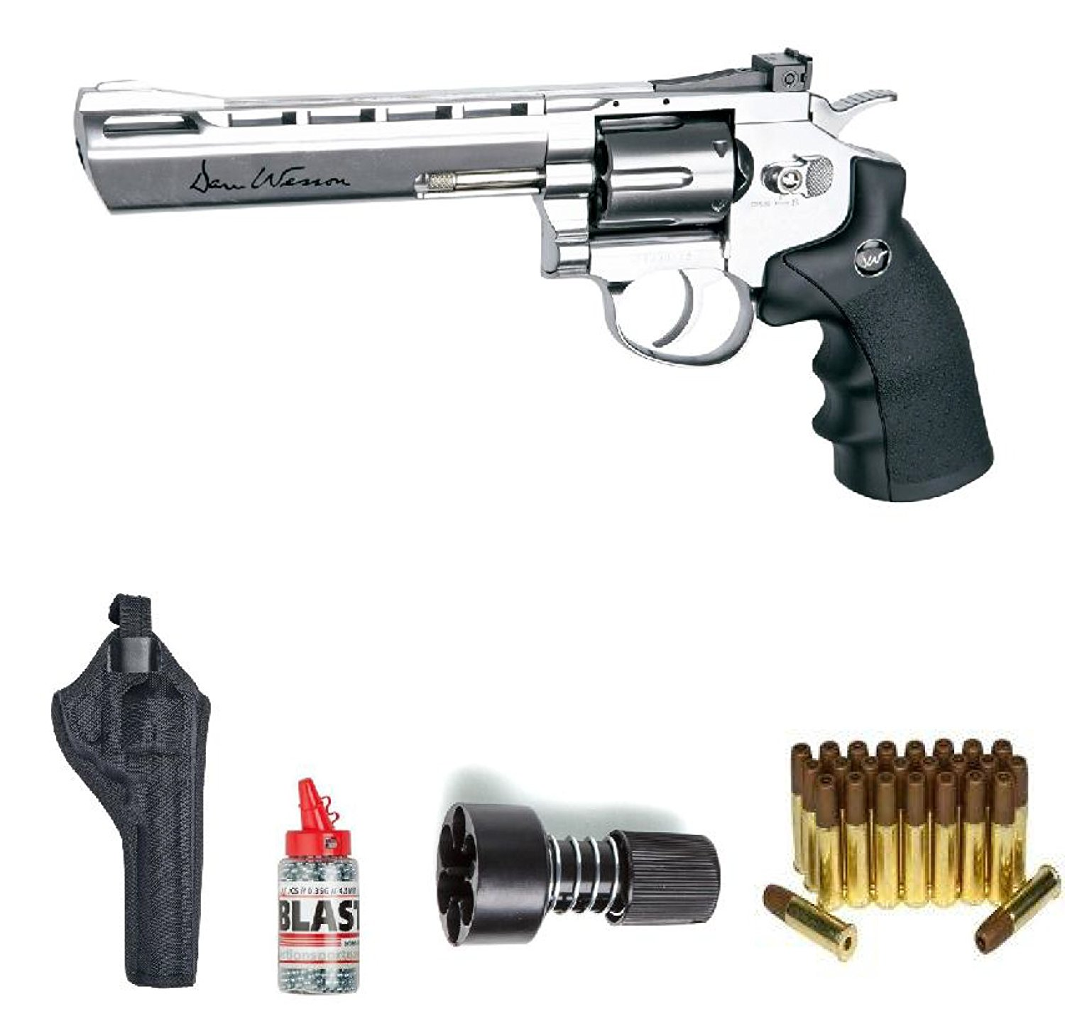 "ASG Dan Wesson BB Air Gun with Holster Cartridges Extra BBs Speed Loader, Silver, 6"" by ASG"