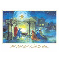 Designer Greetings Wise Men at Stable Box of 18 Religious Christmas Cards