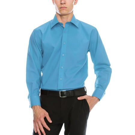 Mens Premium Dress Shirt Button Down Long Sleeve Collar Solid Casual Slim Fit
