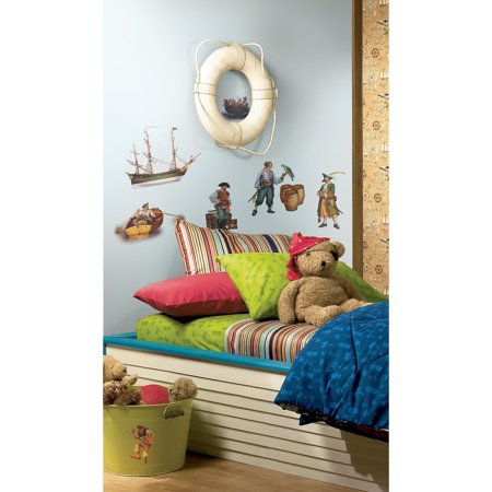 Roommates pirates peel and stick wall decals for Peel and stick wallpaper walmart