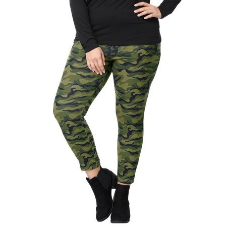 Women Plus Size Elastic Waist Stretch Camouflage Skinny Leggings Green 1X - image 4 of 7