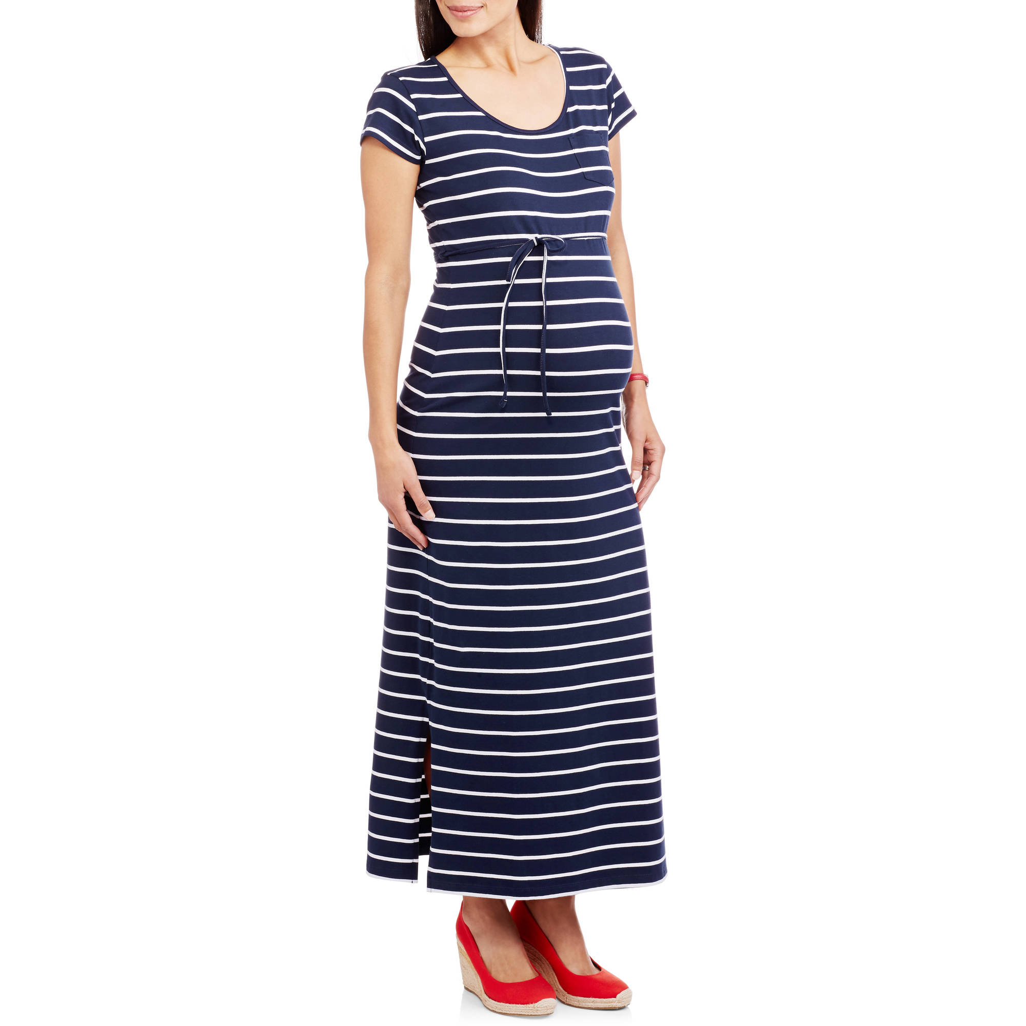 Oh! Mamma Maternity Cap Sleeve Striped Maxi Dress with Tie Belt