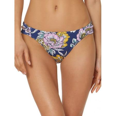 - Floral Shirred Hipster Bikini Swim Bottoms