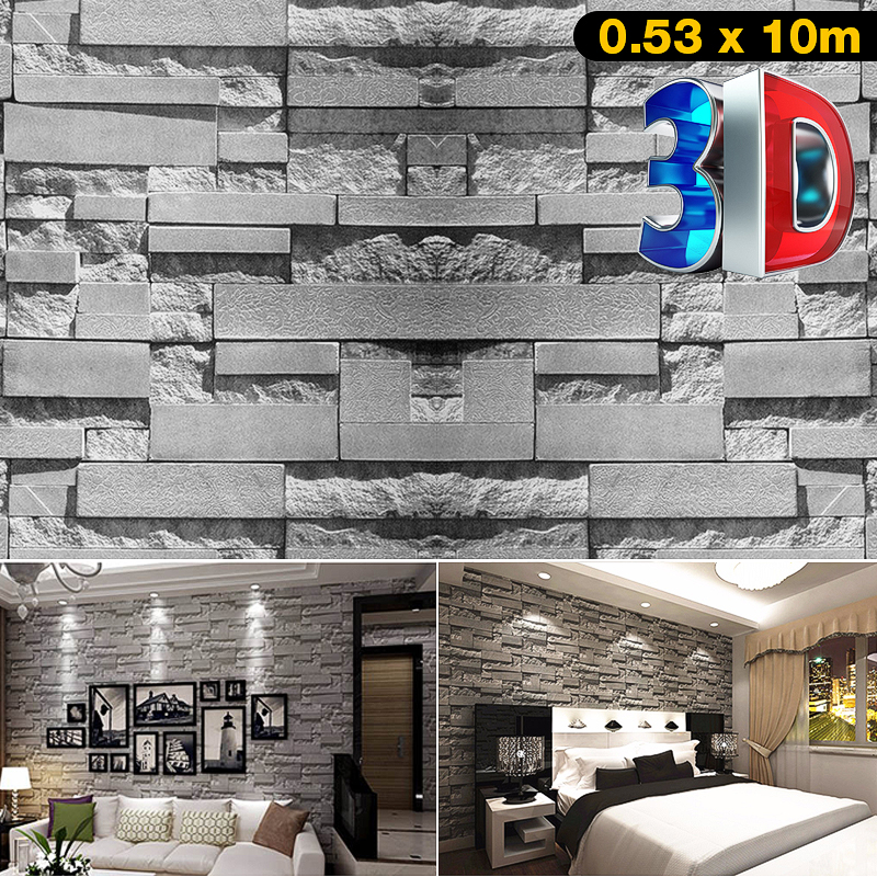 57sq.ft/393.7'' x 21'' 3D Effect Brick Stone Wallpaper Textured Removable Waterproof for Bedroom Living Room TV Background Home Decor Restaurant, Super Large Size