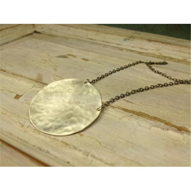 Laura J Designs n5530 Sterling Silver Hammered Disc Necklace, 17 inch