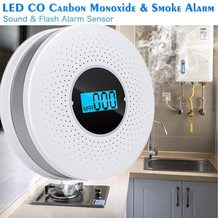 3 in 1 SMT Photoelectric Combination Carbon Monoxide CO & Smoke & Fire Poisonous Gas Sensor Detector Sound & Flash Alarm Home Security Warning Gas Smart prompt Battery-Operated ()