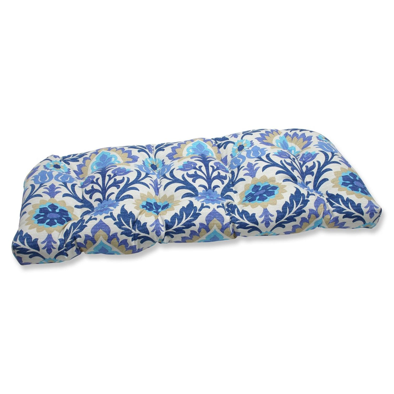 "44"" Dream Garden Blue, Light Taupe and Ivory Damask Outdoor Patio Tufted Wicker Loveseat Cushion"