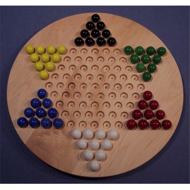 THE PUZZLE-MAN TOYS W-1931 Wooden Marble Game Board - Chinese Checkers  Oiled 18 in. Circle - Hard Maple