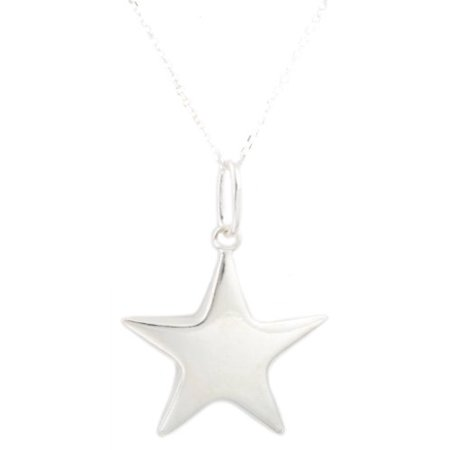 Italian Star (Real 925 Italy Sterling Silver Five Point Star Pendant with an 18 Inch Link Necklace )