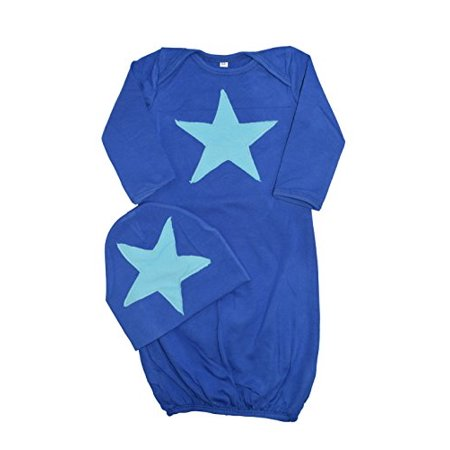 Newborn Baby Boys Convertible Gown - Unique Baby Boys Star Design Gown and Matching Cap (12 Months, Blue)