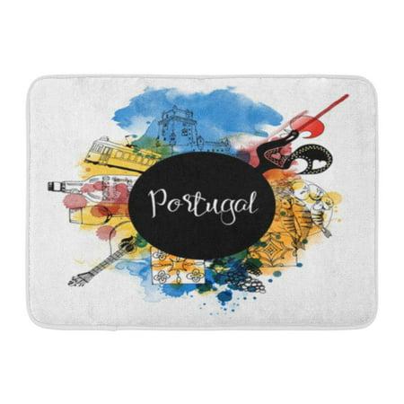 KDAGR City Portugal Watercolor Landmark Lisbon Travel Doormat Floor Rug Bath Mat 23.6x15.7