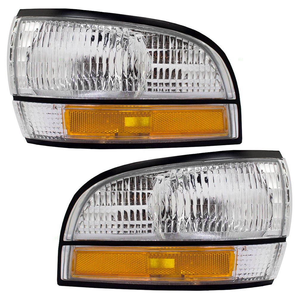 Driver and Passenger Park Signal Front Marker Lights Lamps Lenses Replacement for Buick 16512683 16512684