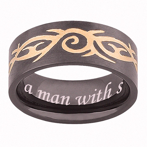 Personalized Black and Gold Stainless Steel Men's Tribal Band