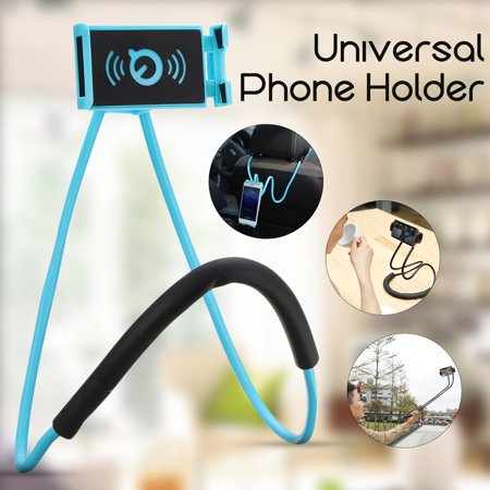 360° Rotation Flexible Long Arms Support Hanging on Neck Phone Holder Selfie Clamp Mount for iPhone for Samsung Cell Phone