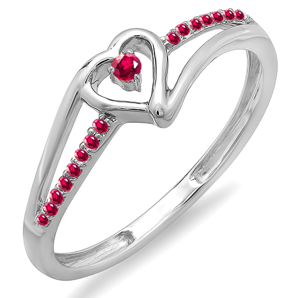 Dazzling Rock 18K White Gold Round Ruby Bridal Promise Heart Split Shank Engagement Ring