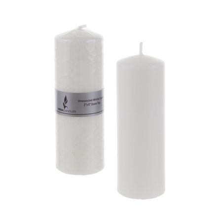 Mega Candles - Unscented 2 Inch x 6 Inch Dome Top Pressed Pillar Candle - White