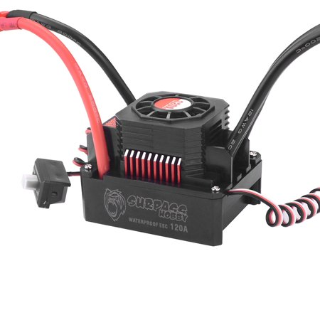 SURPASS HOBBY 120A Brushless ESC Waterproof Electric Speed Controller for 1/8 1/10 RC Truck Off-road Car - image 6 de 7