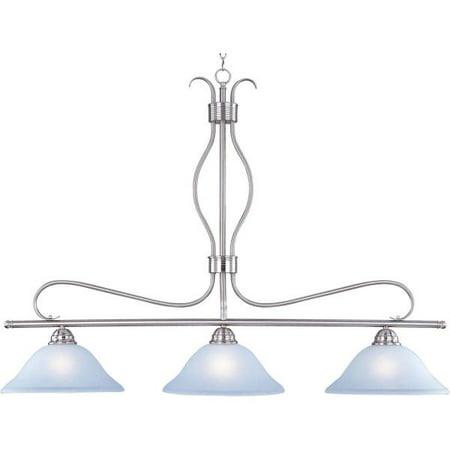 Maxim Lighting Basix - Three Light Island Pendant, Satin Nickel Finish with Ice Glass
