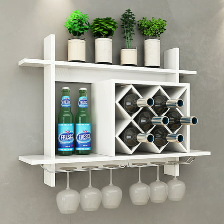 Gymax Wall Mount Wine Rack w/ Glass Holder & Storage Shelf Organizer Home Decor (Wine Storage Shelves)