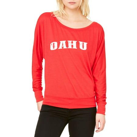Oahu Hawaii Womens Long Sleeve Shirts Flowy