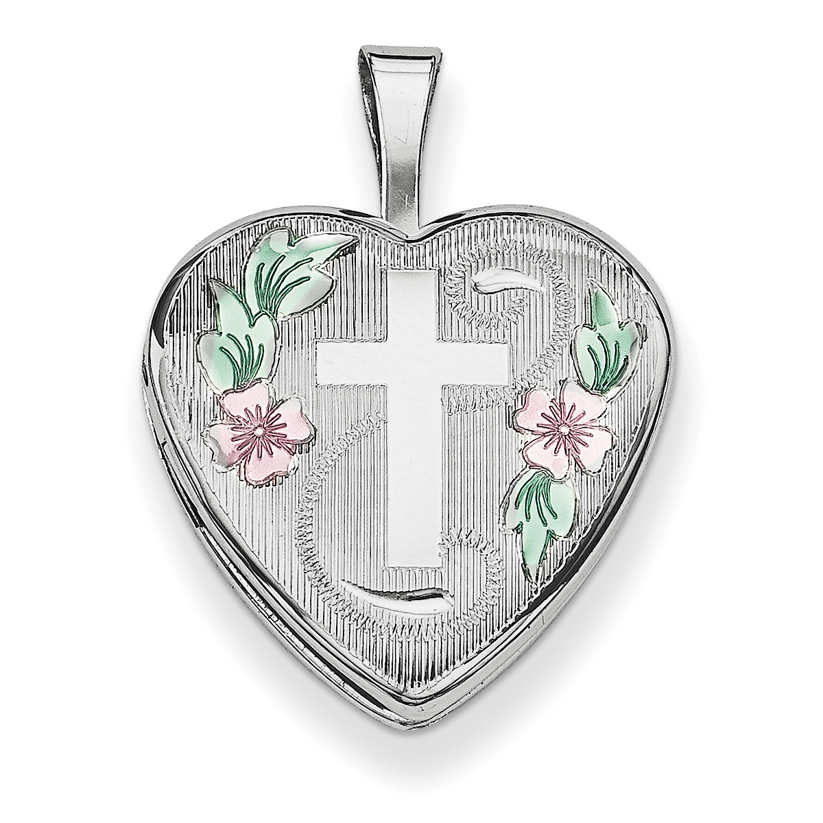 Sterling Silver Rhodium-plated 16mm D/C & Enameled Cross & Flowers Heart Lo QLS381