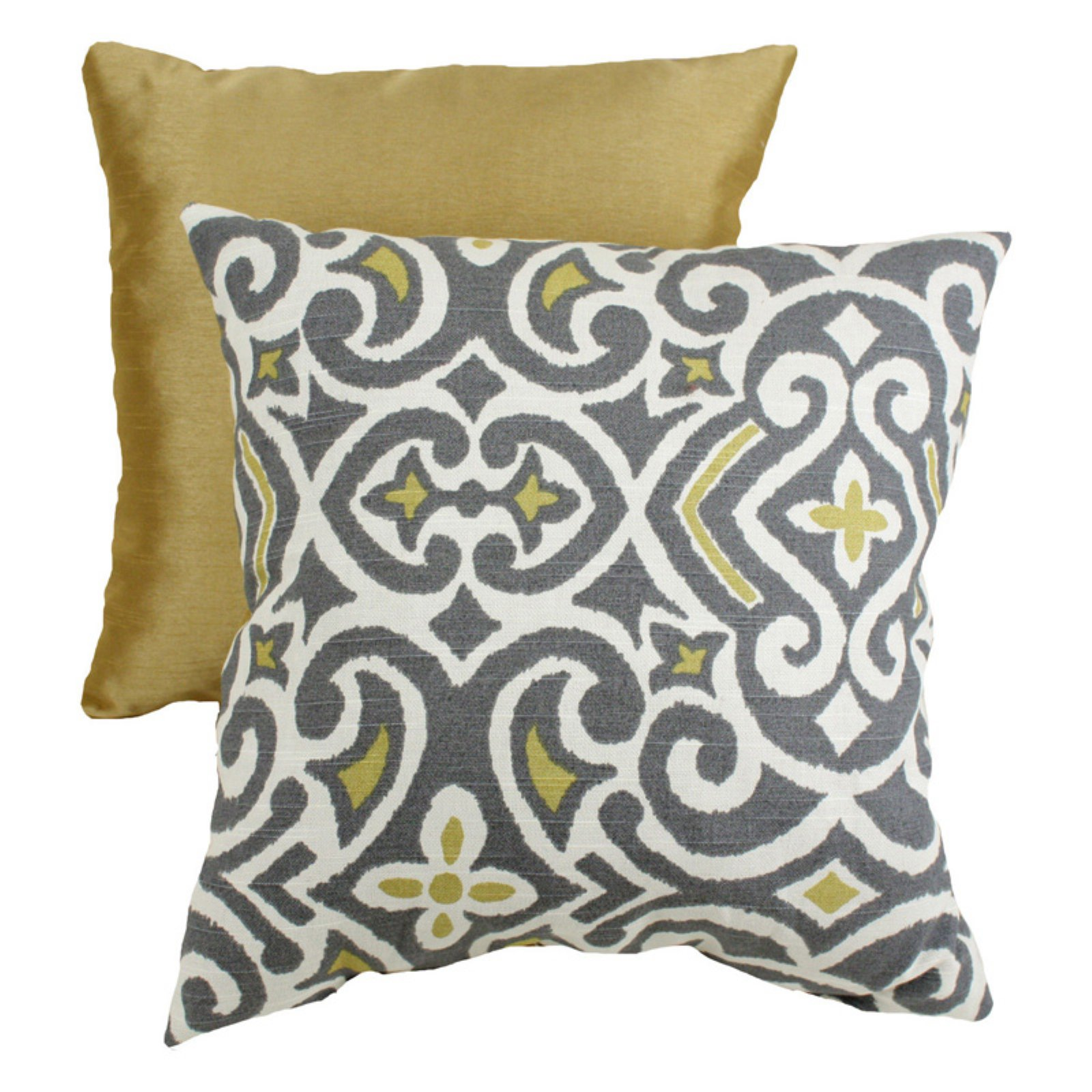 Pillow Perfect Decorative Gray and Yellow Damask Square Toss Pillow by Overstock