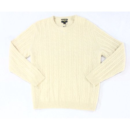 (Club Room NEW Beige Mens Size XL Cable-Knit Crewneck Cashmere Sweater)