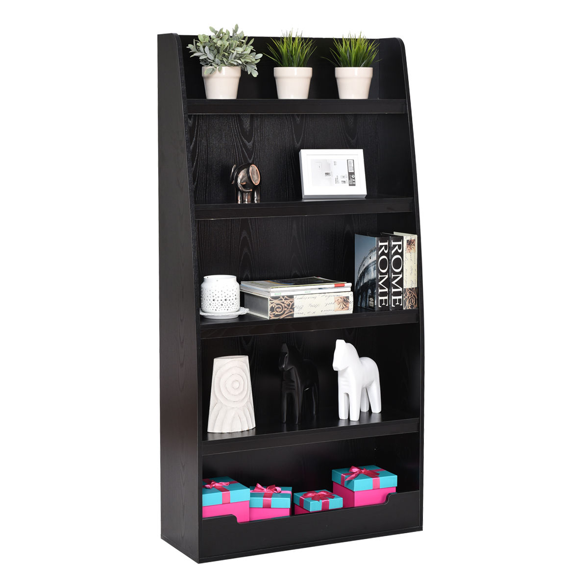 Superior Costway 5 Layers Bookcases Bookshelf Shelves Storage Display Home Office  Furniture Black