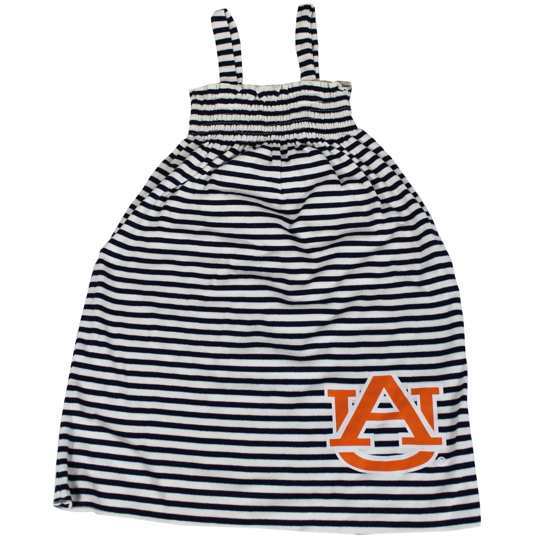 Auburn Tigers Official NCAA Striped Sleeveless Smocked Dress W/ Large Logo. Fanatic 2 T by Glitter Gear