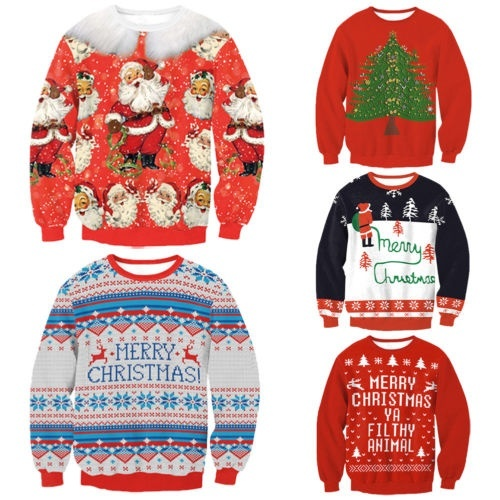 Mens Womens UGLY Christmas Sweater President Xmas Knitted Pullover Funny Tops