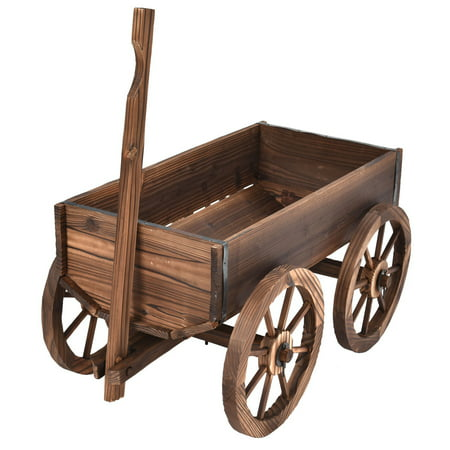 Costway Wood Wagon Flower Planter Pot Stand Garden W/Wheels