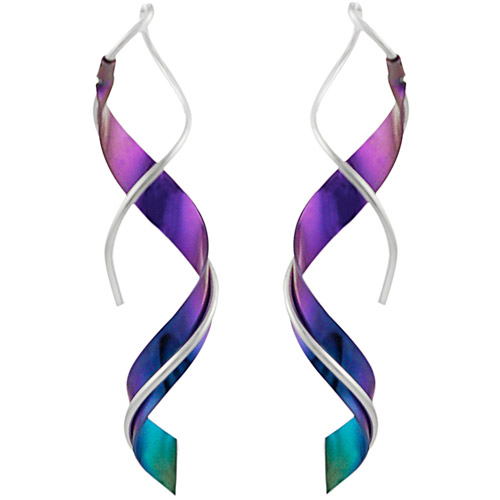 Brinley Co. Sterling Silver Handcrafted Spiral Drop Earrings