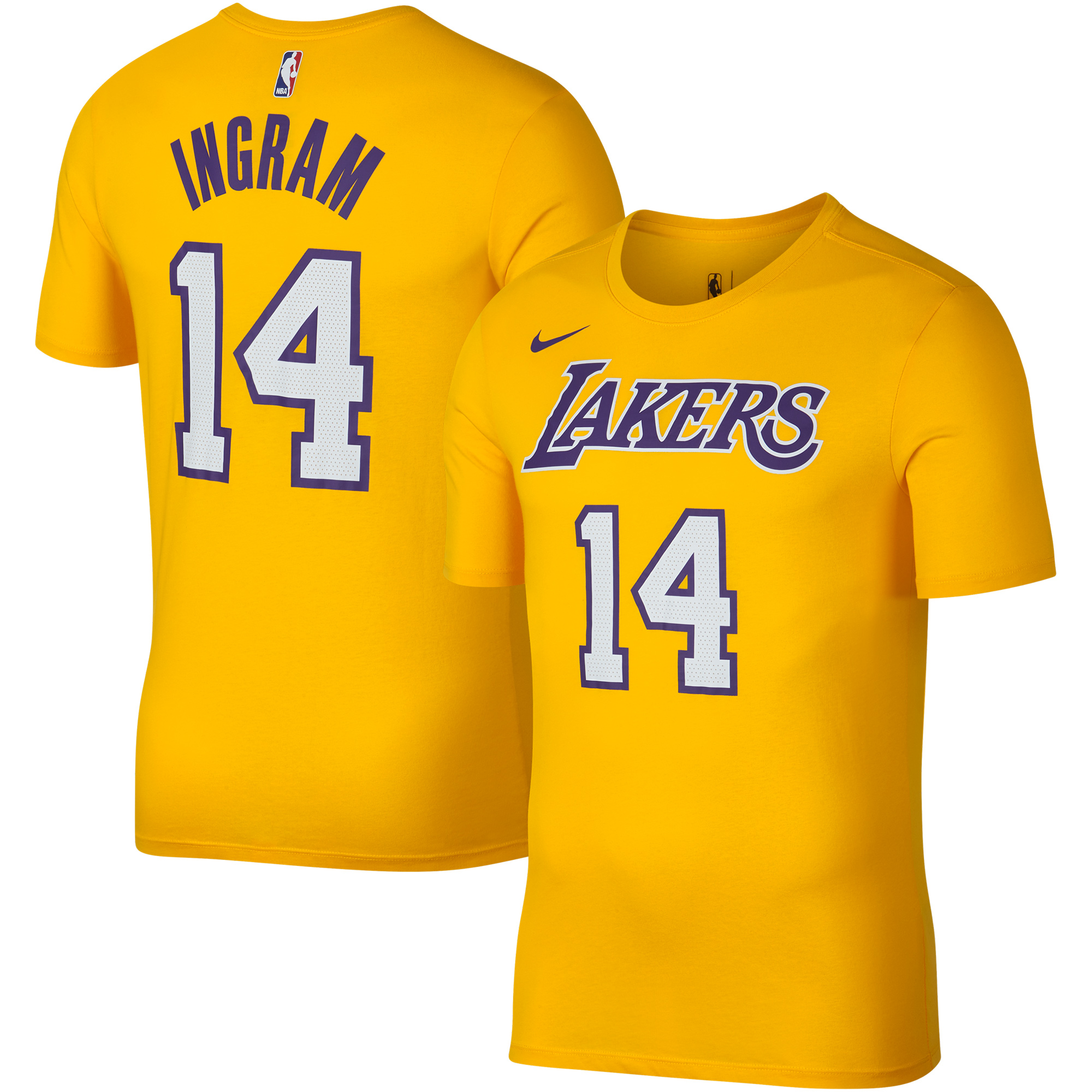 Brandon Ingram Los Angeles Lakers Nike Icon Edition 2018/19 Name & Number Performance T-Shirt - Gold