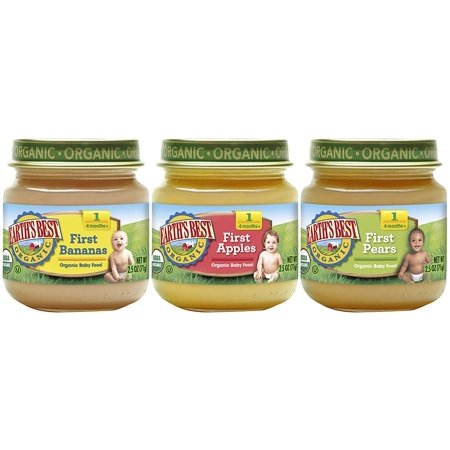 Earth's Best Organic Stage 1 Baby Food, My First Fruits Variety Pack (Apples, Bananas, and Pears), 2.5 Ounce Jars, 12 (Best Baby Food Brand For 6 Month Old)