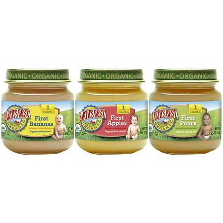 Earth's Best Organic Stage 1 Baby Food, My First Fruits Variety Pack (Apples, Bananas, and Pears), 2.5 Ounce Jars, 12