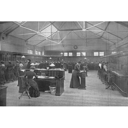 In the Post Office Central Telephone Exchange, City of London, c1903 (1903) Print Wall