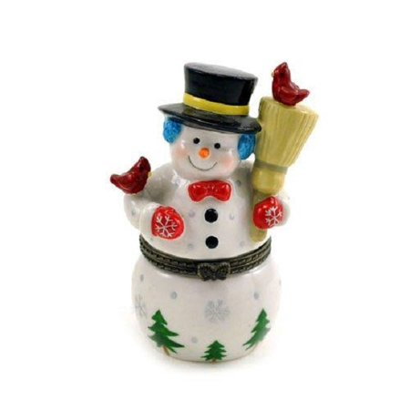 Snowman Hinged Box (Frosty Snowman Winter Wonderland Cardinals Porcelain Hinged Trinket Box)